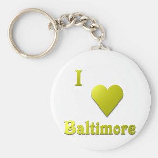 Baltimore -- Gold Basic Round Button Keychain