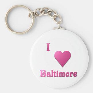 Baltimore -- Hot Pink Basic Round Button Keychain