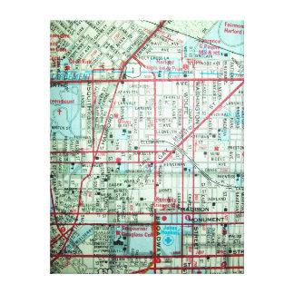 Baltimore, impresión del mapa del vintage del MD Impresiones De Lienzo