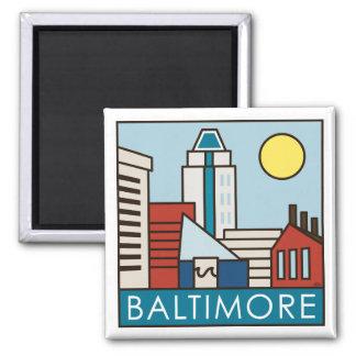 Baltimore Inner Harbor 2 Inch Square Magnet