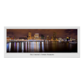 Baltimore Inner Harbor at Night Poster