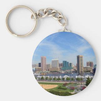 Baltimore Inner Harbor Basic Round Button Keychain