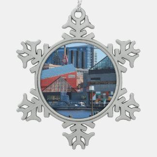Baltimore Inner Harbor Snowflake Pewter Christmas Ornament