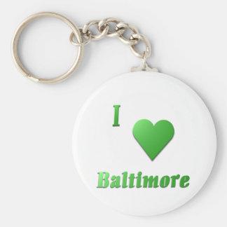 Baltimore -- Kelly Green Basic Round Button Keychain