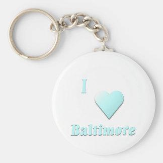 Baltimore -- Light Blue Basic Round Button Keychain