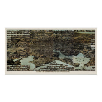 Baltimore mapa panorámico del MD - 1870 Posters