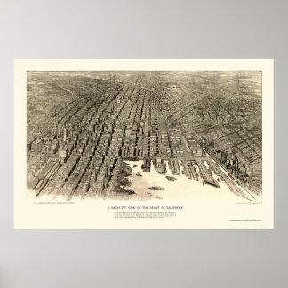 Baltimore mapa panorámico del MD - 1912 Impresiones