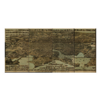 Baltimore Maryland 1870 Antique Panoramic Map Poster
