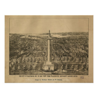 Baltimore Maryland 1880 Antique Panoramic Map Poster