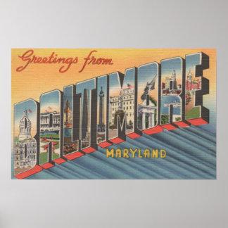 Baltimore Maryland - escenas grandes 2 de la letr Impresiones