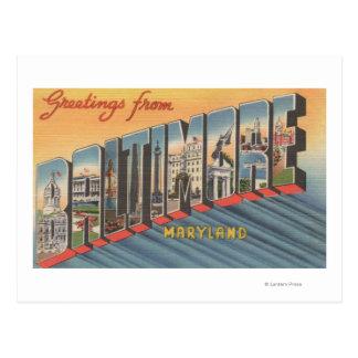 Baltimore Maryland - escenas grandes 2 de la letr Tarjetas Postales