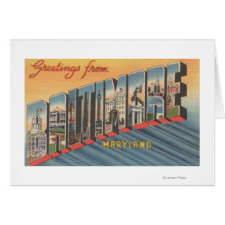 Baltimore, Maryland - Large Letter Scenes 2 Card