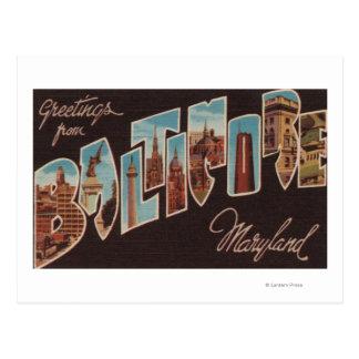 Baltimore, Maryland - Large Letter Scenes 3 Postcard