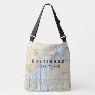 Baltimore Maryland Latitude Longitude Nautical Crossbody Bag