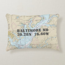 Baltimore Maryland Nautical Chart Accent Pillow