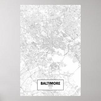 Baltimore, Maryland (negro en blanco) Posters