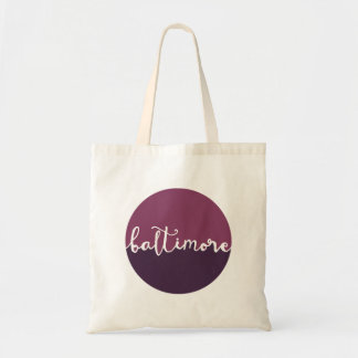 Baltimore, Maryland   Purple Circle Ombre Tote Bag