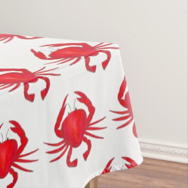 Beach Themed Baltimore Maryland Red Hard Shell Crab Seafood Tablecloth