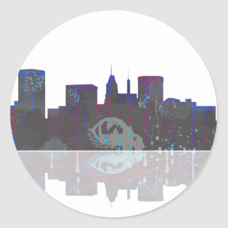 Baltimore Maryland Skyline Classic Round Sticker