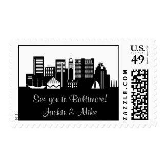 Baltimore, Maryland Skyline Postage Stamp
