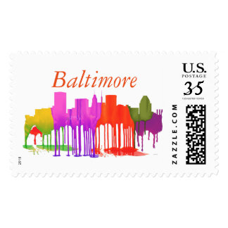 BALTIMORE MARYLAND SKYLINE PUDDLES - POSTAGE