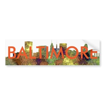 Professional Business Baltimore Maryland Skyline  Safari Buff Bumper Sticker