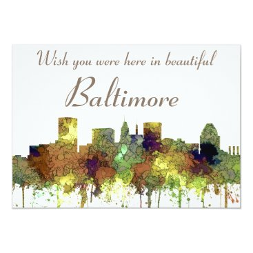 Professional Business Baltimore Maryland Skyline  Safari Buff Card