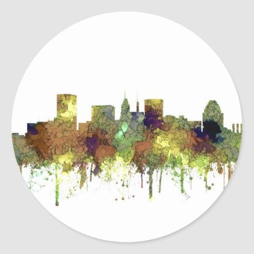 Professional Business Baltimore Maryland Skyline  Safari Buff Classic Round Sticker