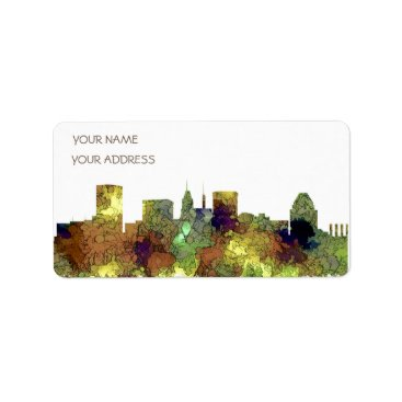 Professional Business Baltimore Maryland Skyline  Safari Buff Label