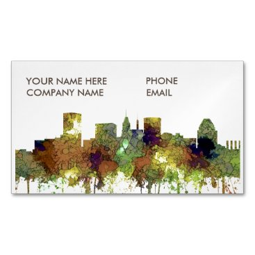 Professional Business Baltimore Maryland Skyline  Safari Buff Magnetic Business Card