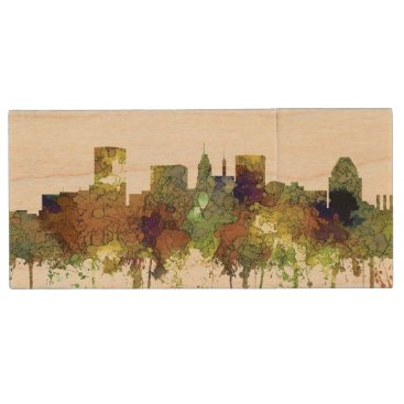 Professional Business Baltimore Maryland Skyline  Safari Buff Wood USB Flash Drive
