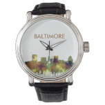 Baltimore Maryland Skyline  Safari Buff Wrist Watch