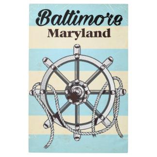 Baltimore Maryland vintage nautical travel poster