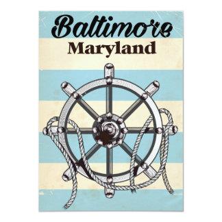 Baltimore Maryland vintage nautical travel poster Card