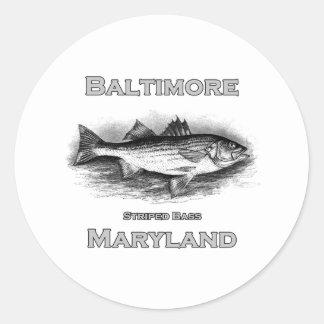 Baltimore Maryland Vintage Striped Bass Logo Classic Round Sticker