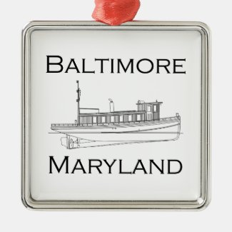 Baltimore Maryland Vintage Tugboat Metal Ornament