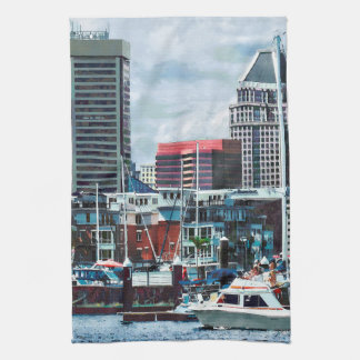 Baltimore MD - Baltimore Skyline at Charles River Hand Towel