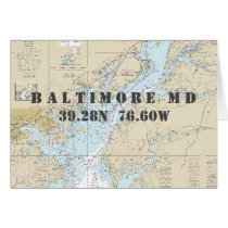 Baltimore MD Chesapeake Nautical Navigation Chart Card