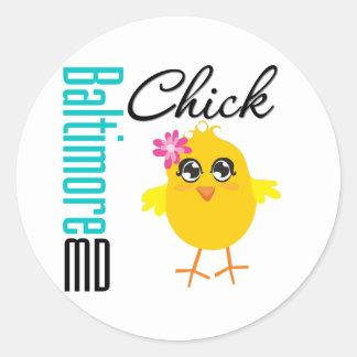 Baltimore MD Chick Classic Round Sticker