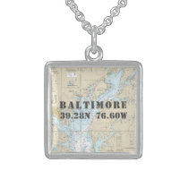 Baltimore MD Home Town Latitude Longitude Nautical Sterling Silver Necklace