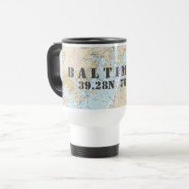 Baltimore MD Latitude Longitude Boater's Travel Mug
