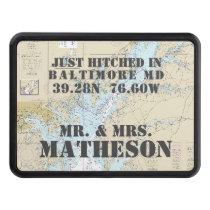 Baltimore MD Latitude Longitude Nautical Boating Hitch Cover