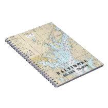 Baltimore MD Latitude Longitude Nautical Chart Notebook