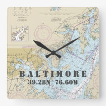 Baltimore MD Latitude Longitude Nautical Chart Square Wall Clock