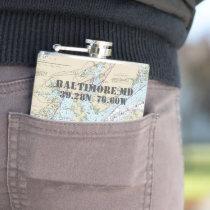 Baltimore MD Latitude Longitude Nautical Flask