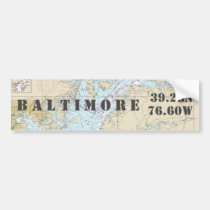 Baltimore MD Latitude Longitude Navigation Bumper Sticker