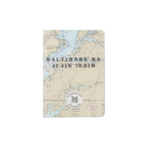 Baltimore MD Monogram Nautical Chart Passport Holder