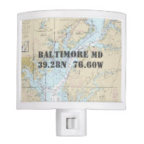 Baltimore MD Nautical Chart Home Town Coordinates Night Light