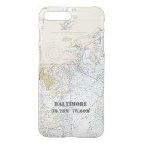 Baltimore MD Nautical Chart Latitude Longitude iPhone 7 Plus Case