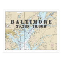 Baltimore MD Nautical Chart Latitude Longitude Postcard